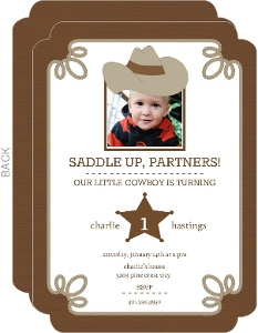 Brown Western 1St Birthday Invitations
