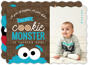 Cookie Monster Photo First Birthday Invitation