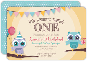 Festive Owls First Birthday Invitation