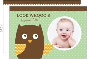 Polka Dot Owl First Birthday Invite