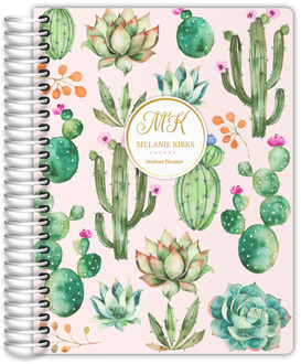 Delicate Watercolor Cacti Student Planner