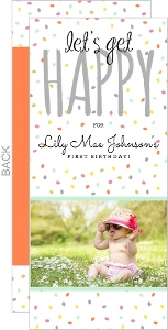 Colorful Confetti Photo First Birthday Invitation