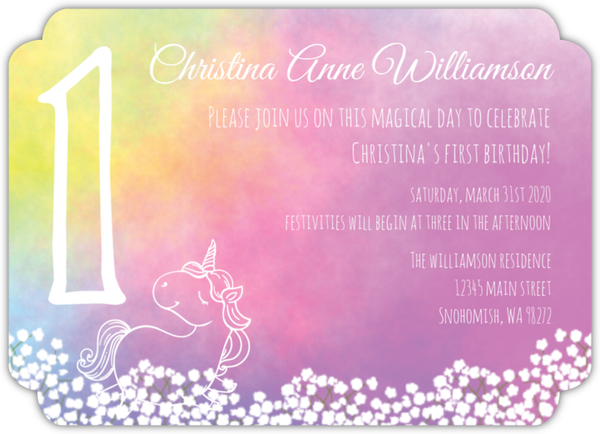 Watercolor Unicorn First Birthday Invitation