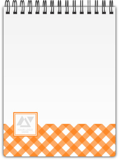 Orange Gingham Pattern Business Notebook