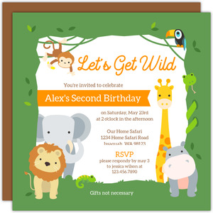Wild Safari Frame Kids Birthday Invitation