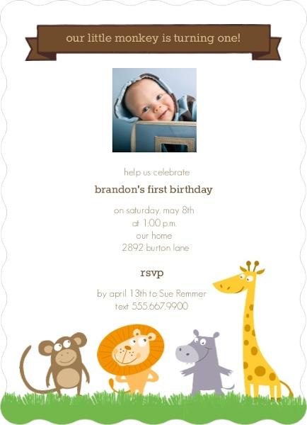 Jungle animals first birthday invitation first birthday invitations jungle animals first birthday invitation filmwisefo