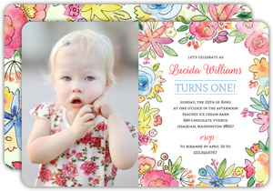 Colorful Flowers First Birthday Invitation