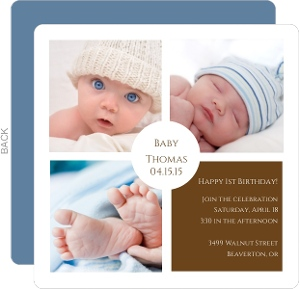 Baby S First Birthday Simple Squares Photo Invitation