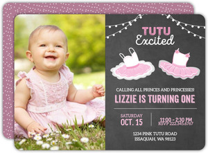 Cute Ballerina First Birthday Invitation