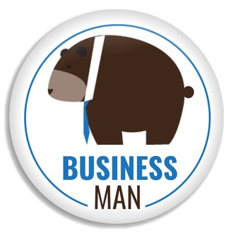 Business Man Brown Bear Custom Business Button