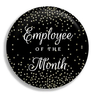 Faux Glitter Confetti Employee of the Month Business Button