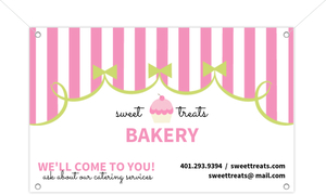 Whimsical Pink Curtain Business Banner