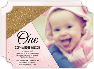 Modern Pink & Faux Glitter First Birthday Invitation