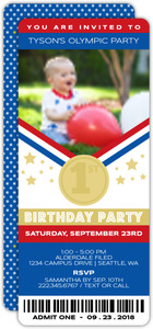 Olympics Ticket First Birthday Invitation