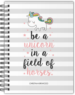 Stripes Unicorn Quote Notebook