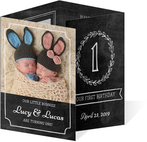 Chalkboard Frames First Birthday Invitation
