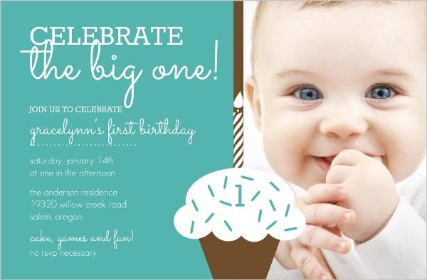Turquoise Cupcake 1St Birthday Photo Invite