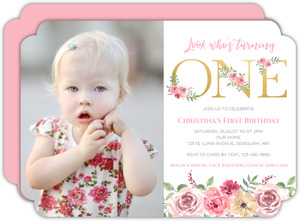 Floral Faux Gold One First Birthday Invitation