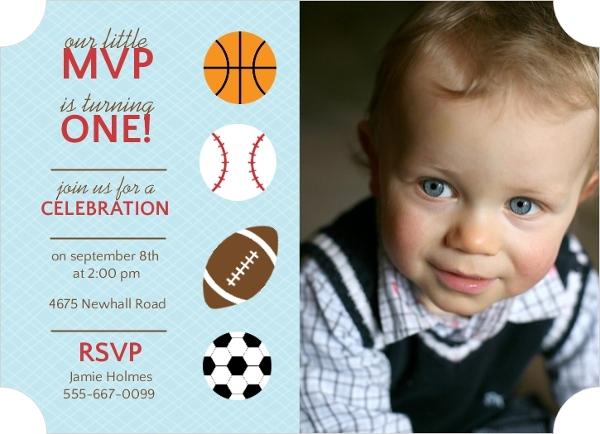 Sports Balls First Birthday Invitation