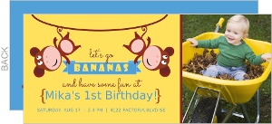 Yellow And Brown Monkey First Birthday Invitation
