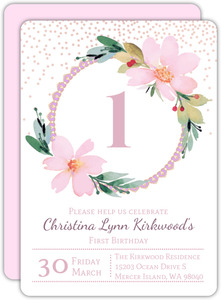 Delicate Watercolor Flower First Birthday Party Invitation