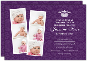 Photo Strip Royal Purple 1st Birthday Party Invitations