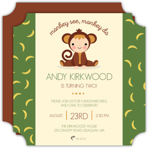 Monkey See Monkey Do Kids Birthday Invitation
