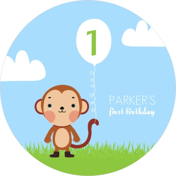 Blue and green monkey first birthday party invitation first blue and green monkey first birthday party invitation filmwisefo