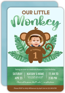 Tropical Watercolor Monkey First Birthday Party Invitation