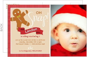 Red Gingerbread Man Oh Snap 1St Birthday Invitation