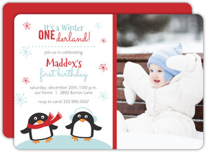Winter One-Derland First Birthday Invite - 2585