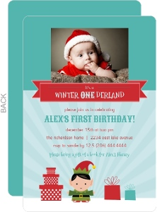 Whimsical Turquoise Holiday Elf First Birthday Invitations