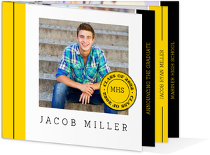 Yellow and Black Simple Stripe Graduation Invitation