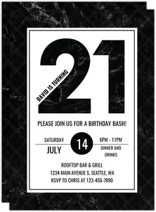 Fancy Black Marble 21st Birthday Invitation