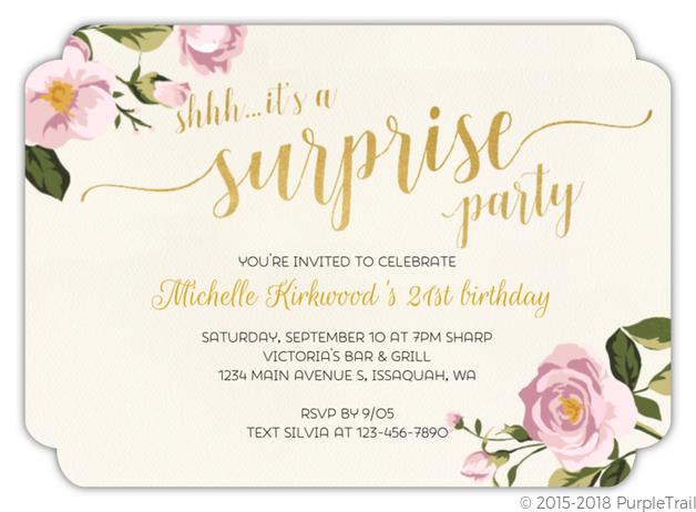 Surprise Pink Floral 21st Birthday Invitation