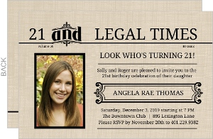 Extra 21 And Legal Times 21st Birthday Invitation
