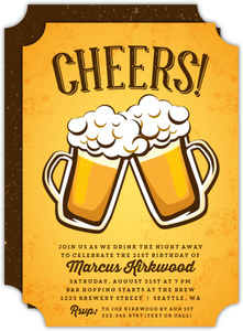 Cheers Beer Mugs 21st Birthday Invitation