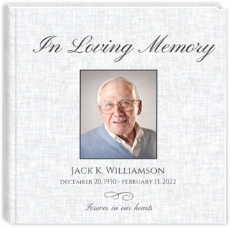 Elegant Grey Single Photo Funeral Guest Book