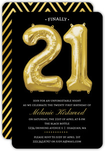 Faux Gold Balloon 21st Birthday Invitation