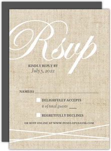 Vintage Burlap Lace Wedding Response Card