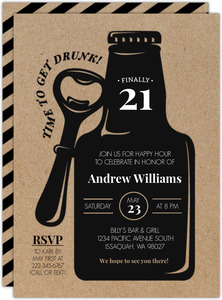 Rustic Black Bottle 21st Birthday Invitation