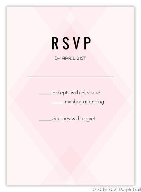Wedding Response Cards.Modern Blush Pattern Wedding Response Card
