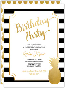 Modern Chic Pineapple 21st Birthday Party Invitation