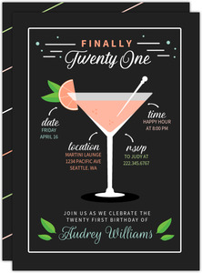 Modern Martini Recipe 21st Birthday Party Invitation