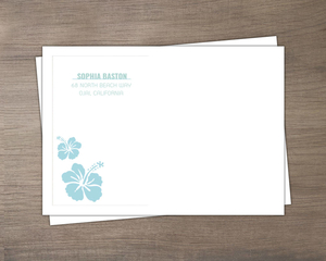 Turquoise And White Floral Luau Envelope