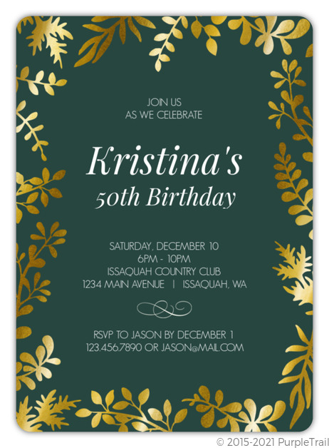 Gold Foil Floral Frame Birthday Invitation