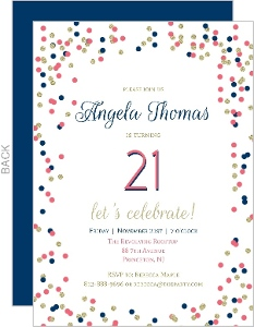 Pink Blue And Gold Confetti 21st Birthday Party Invite