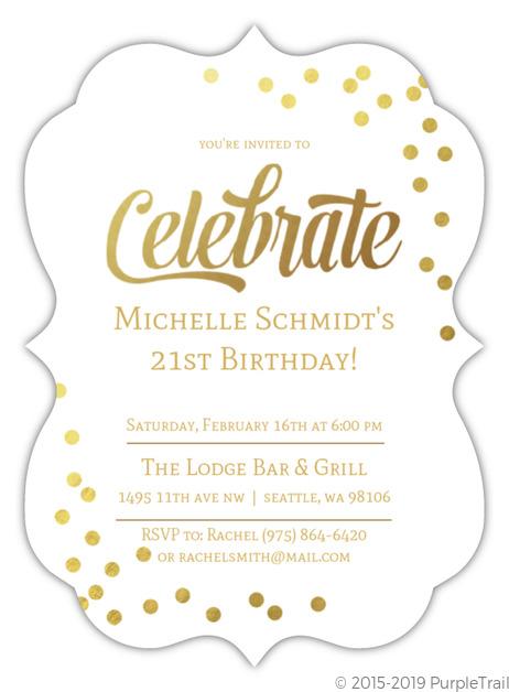 Faux Gold Foil Cute 21st Birthday Invite