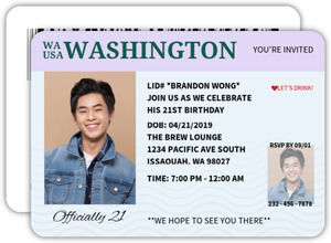 Officially 21 Identification Birthday Invitation