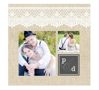 Vintage Burlap Lace Wedding Thank You Booklet